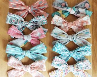Pink and Blue Bow Set (set of 10) Bohemian hair bow, boho, pinwheel hai bows, school girl bow, newbon bow, toddler hair bow, floral bow, gl