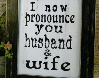 Wedding Husband Wife sign digital PDF  - white uprint art words vintage style paper saying