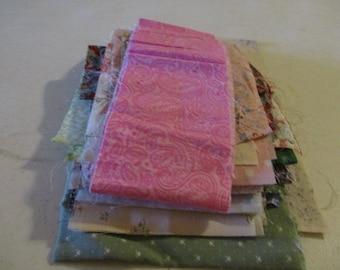 Cotton Fabric Scraps. 1 block -- W