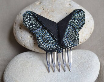Black fabric origami Butterfly hair comb