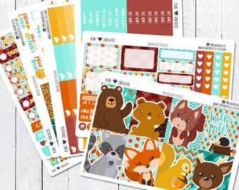 Fall Planner Stickers, Woodland Animals Weekly Sticker Kit, for use in Erin Condren Life Planner™