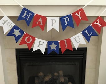 Happy 4th of July Banner, Happy Fourth, Independence Day Decoration, 4th of July, Patriotic Banner, Red White and Blue, Stars, Photo Prop