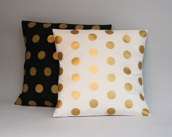 Gold polkadots pillow - Gold throw pillow cover dots - Nursery throw pillow - accent pillow polkadots gold 16, 18, 20, 24, 26 inch