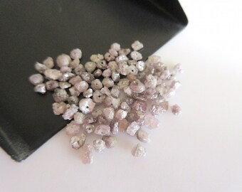 Raw Pink Diamond Chips Beads, Drilled Natural Pink Diamond, Rough Diamond, Raw Diamonds, 8 Pieces Approx 3mm To 4mm Each