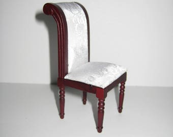 Dollhouse Miniature Dining or Side Chair White Fabric Fancy 1:12 Scale Furniture