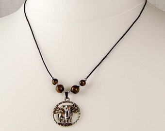Elephant and tiger's eye necklace