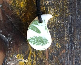 Porcelain teardrop pendant - green leaves