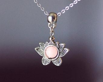 Lotus Necklace Silver Lotus Silver Pink Necklace Lotus Agate Necklace Lotus Jewelry Pink Gemstone Necklace Flower Necklace Blooming Lotus