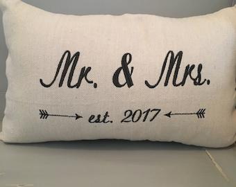 Wedding date lumbar size pillow on canvas fabric