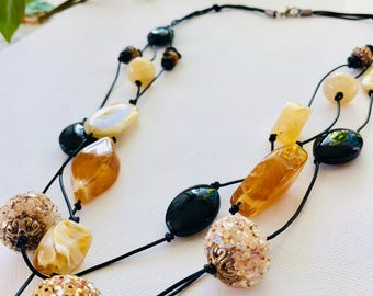 SALE destash - hand knotted, beaded necklace, made with stone and glass, shades of gold and black
