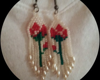 Vintage handmade pierced earrings - Native Indian style with long beaded fringe - red roses among white seed beads - small pearls at ends