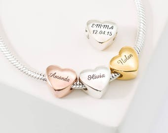 Custom Name Heart Charm • Baby Family Charm Bracelet • PersonalizeD European Bead Jewelry in Gold • Gift for Her • Mother Gift • CM18F49