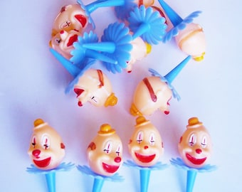 12 Kitschy Clown Cupcake Toppers 2in Blue Ruffle