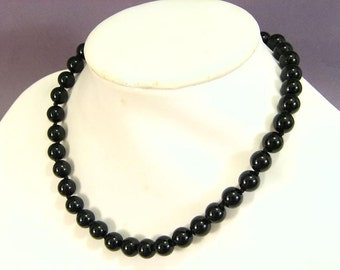 Necklace Black Onyx 10mm Round Beads NSNX5427