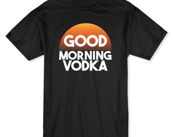 Good Morning Vodka Funny Drinking Men's Black T-shirt