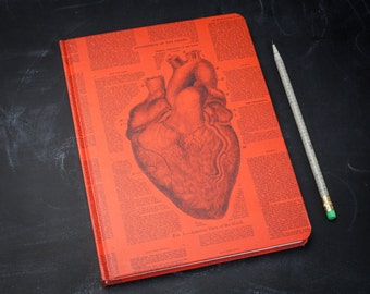 Anatomical Heart Hardcover Journal | Dot Grid Notebook, anatomy nurse, surgeon, science gift, med school, doctor, valentine, cardiac