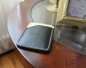 business card wallet, Slim card holder, small card wallet, thin card wallet, small minimalist card wallet, Black card wallet,