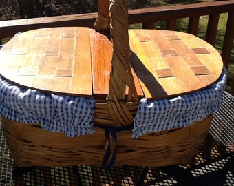 Whiker Picnic Basket W Double Wood Lid