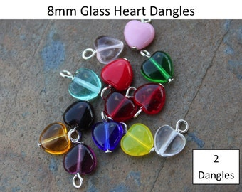 2 Two 8mm glass heart dangles - birthstone colors and more - silver, gold, gunmetal, antiqued brass, copper, or antiqued silver plated loops