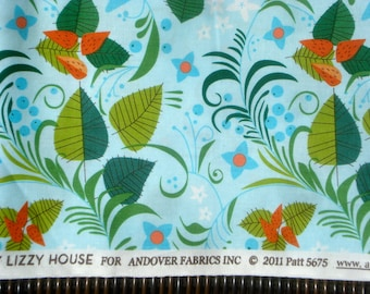 Lizzy House Hello Pilgrim leaves blue FQ or more