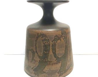 HUGE Vintage Stoneware Designs West SDW Pottery Vase mid century modernist c1970
