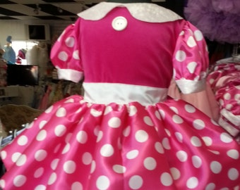 Minnie Mouse Dress Hot Pink Costume infant toddler dress #minniemouse