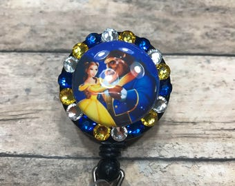 Beauty and the beast - retractable badge reel - retractable badge holder - badge reel - badge clip - ID card holder - badge holder
