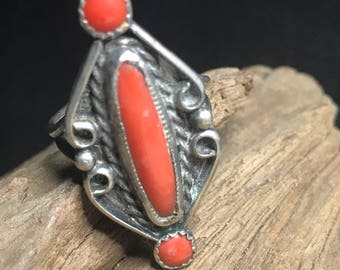 BoHo Inspired CAPTIVATING CORAL Statement Ring