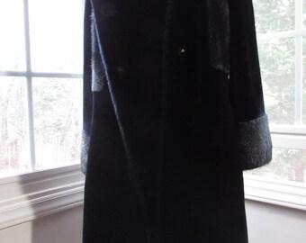 Vintage Faux Fur Coat, Black Vintage Coat, Black Faux Fur Coat, ILGW Coat, 1960s Coat