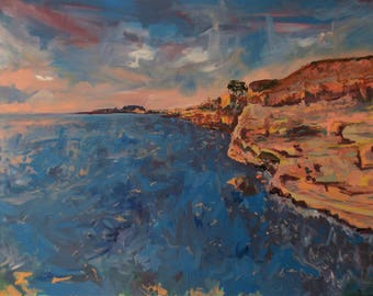 Large Original Mixed Media Landscape Painting. 36x48 HD Canvas Bars. San Diego California West Coast Cliffs Sunset by ThienArt. FREE SHIP.