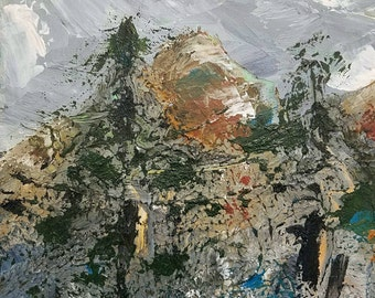 Original abstract landscape mountains oil painting. 10x10 palette knife