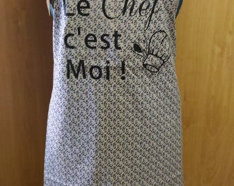 Apron printed with text transfer