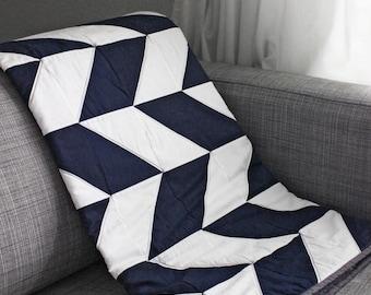 Modern Navy Blue and White Herringbone Lap Quilt