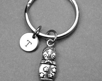 Matryoshka doll keychain, Matryoshka doll charm, Russian doll keychain, Russian doll charm, nesting doll, personalized keychain, monogram