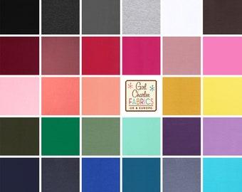 Solid Colour Cotton Lycra Knit Fabric (Various Colours)