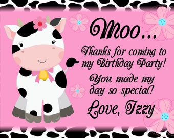 Printable Cow Birthday Party Thank You Cards Personalized Girls Birthday