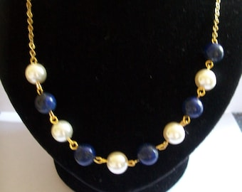 Pearlescent with lapis lazuli necklace