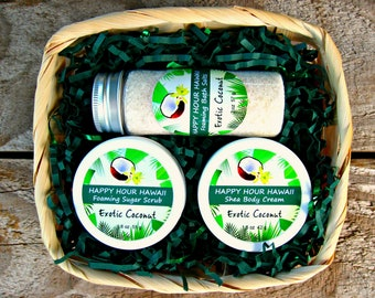 COCONUT GIFT BASKET: Mini Foaming Sugar Scrub, Mini Shea Body Cream and Foaming Bath Salts. Gift from Hawaii, Hawaiian Gift Basket.
