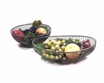 """Pair of Vintage Silver Fruit Baskets, 9.5"""" Centerpiece Bowl & 11"""" Bread Basket by Gorham and Raimond"""