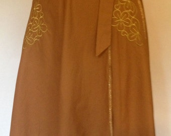 1970s Philippe Salvet Cotton Rust Colored A-Line Wrap Skirt with Gold Embroidery/ Made in France/Never Worn