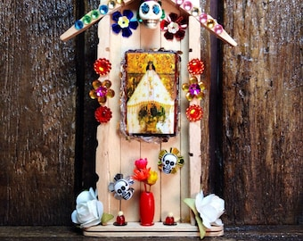 Our Lady of Juquila Miniature Nicho / Folk Art Catholic Shrine / Day-of-the-Dead Altar / Dia de los Muertos Decor / La Virgen Blessed Mother