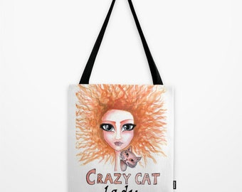 Cat lover bag Crazy cat lady bag Gift for cat lover Cat bag Cat tote bag Printed cat bag Cat lady tote Gift for her Cat freak gift tote bag