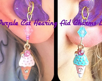 Hearing Aid Charms: Sweet Jeweled Ice Cream Cones with Glass Bead Accents!  Also available in Mother Daughter Sets! Trinkets sold separately