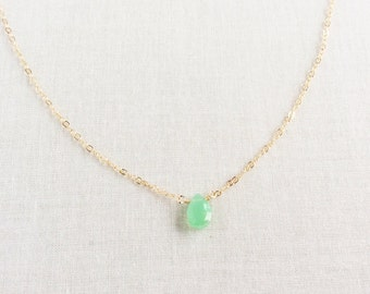 Chrysoprase Necklace, Green Stone Necklace, Dainty Necklace Gold, 14k Dainty Gold Necklace, Tiny Stone Necklace, 14k Gold Necklace, GN34