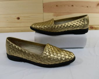 Cole Haan Vintage Gold Woven Leather Flats/Loafers Size 7.5AA Narrow Made in Italy