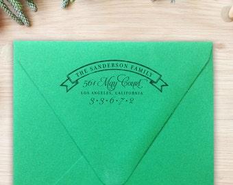 Return Address Stamp Fancy Banner Custom Rubber Stamp Self-Inking Whimsical Address Wedding Gift Housewarming Gift Christmas Gift