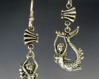 Assymetrical Mermaid Earrings in Sterling SIlver