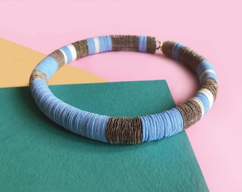 Contemporary paper jewelry, blue and brown paper choker, paper and rubber necklace, women jewelry, designer jewelry, gift for her, for wife