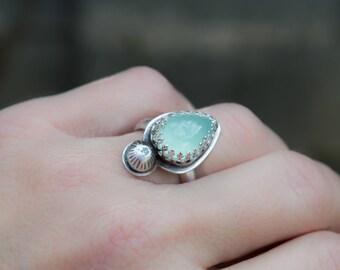 Aqua Chalcedony ring, Sterling silver ring, Artisan ring, Gemstone silver ring, Teardrop ring,Artisan jewelry, Blue gemstone ring, Boho ring