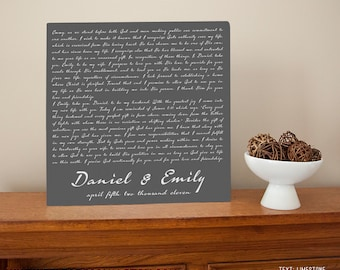 Script Wedding Vows Personalized Metal Sign Wall Art Print - Wedding gift, tenth anniversary gift, 10th, aluminum, tin, Valentine's Day